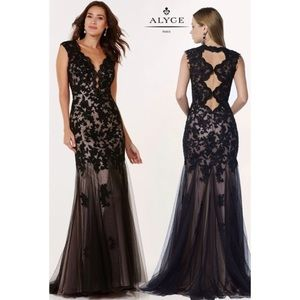 Alyce designs black lace formal gown/ prom dress